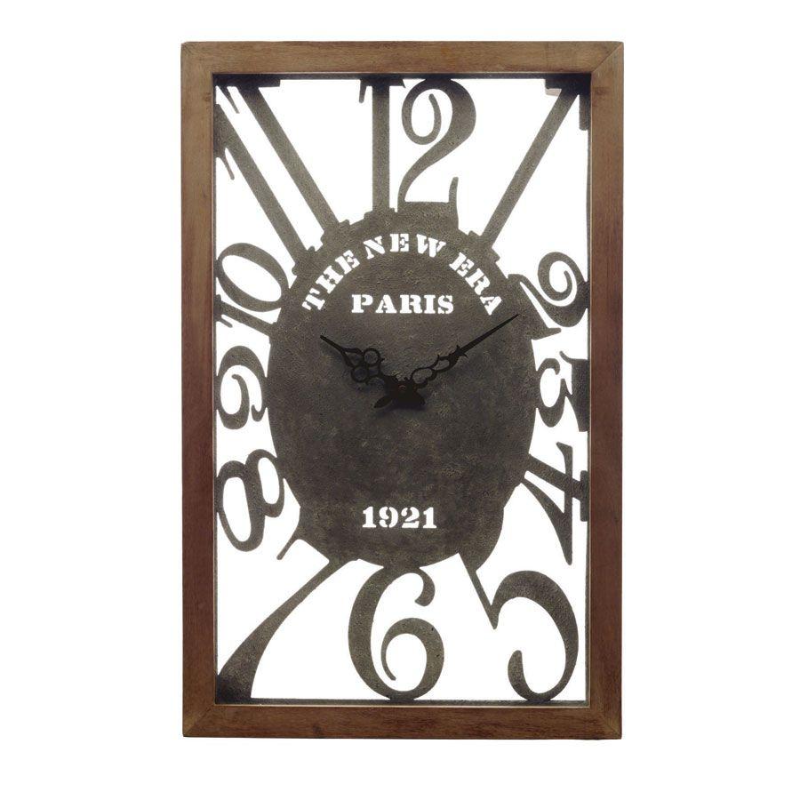 Horloge murale en bois, métal et verre