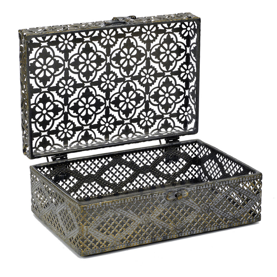 Boîte en métal à motifs