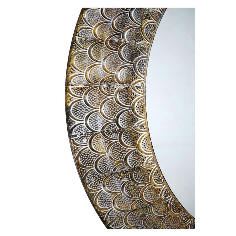 Miroir métal laitonné à motifs