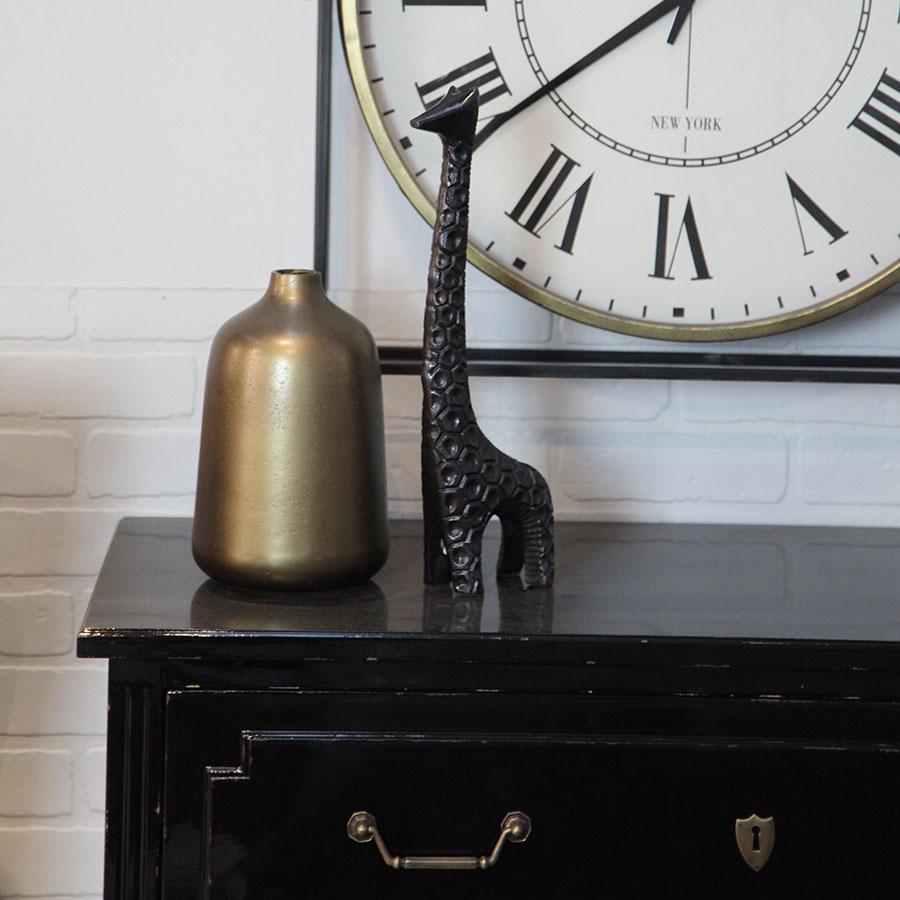 Statue girafe en métal