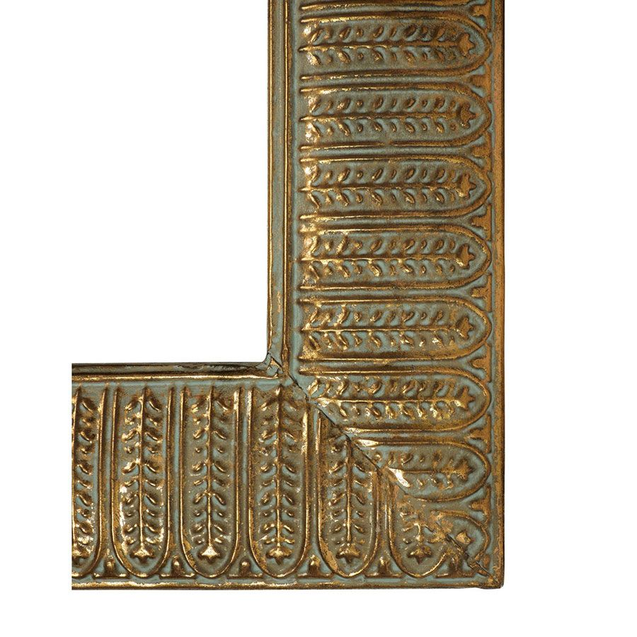 Miroir rectangulaire en métal doré