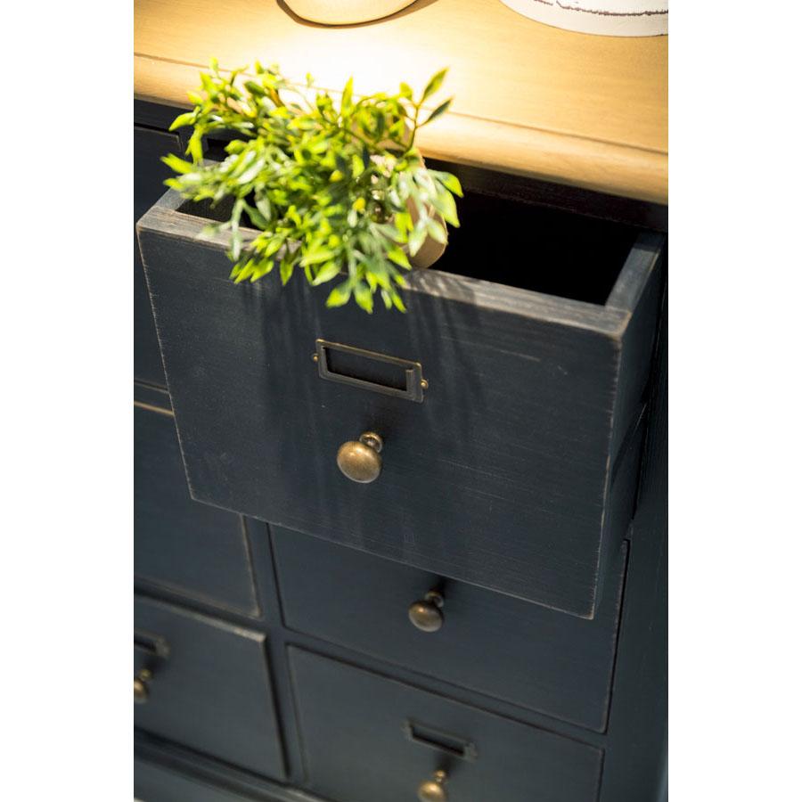 Buffet noir 18 tiroirs en pin massif - Manoir