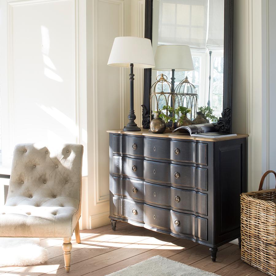 Commode noire 4 tiroirs en pin massif - Manoir