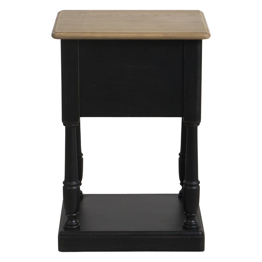 Table de chevet 2 tiroirs noire en pin massif – Manoir