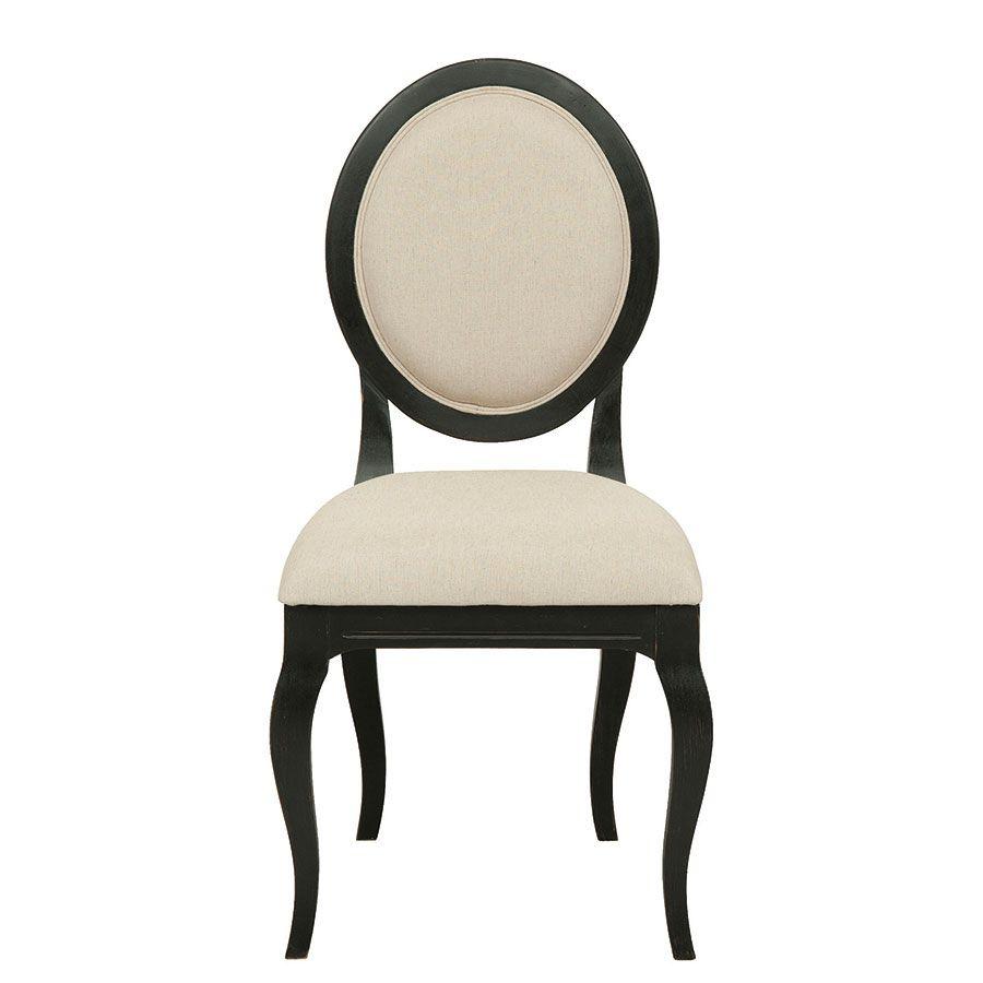 Chaise médaillon noire en hévéa et tissu - Manoir