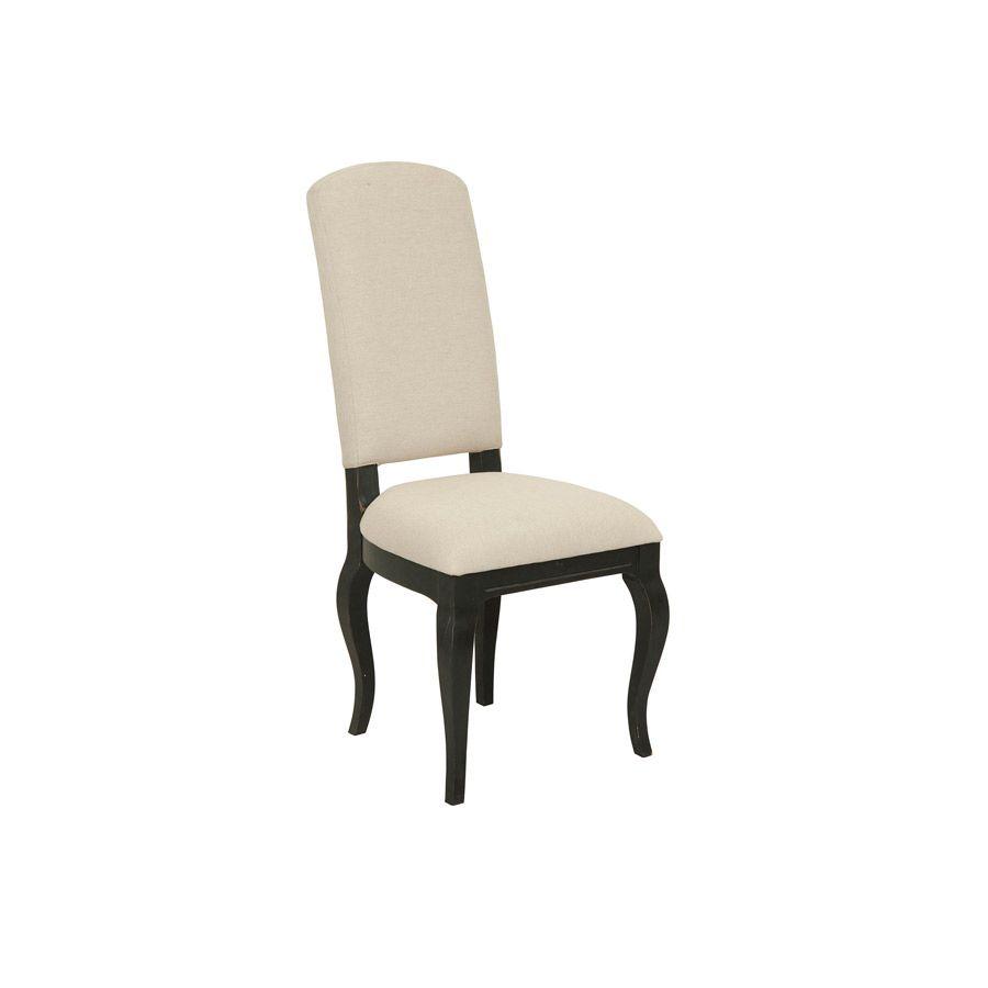 Chaise noire en hévéa massif et tissu - Manoir