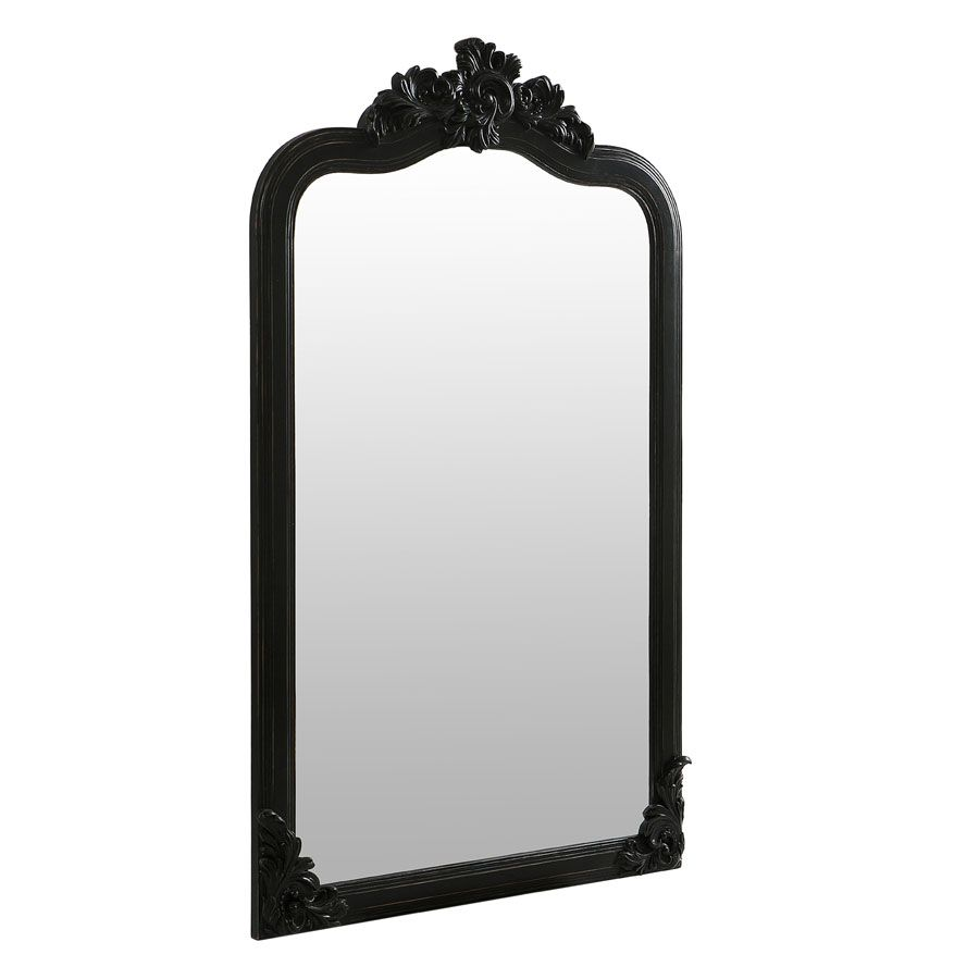 Miroir noir en pin massif - Manoir