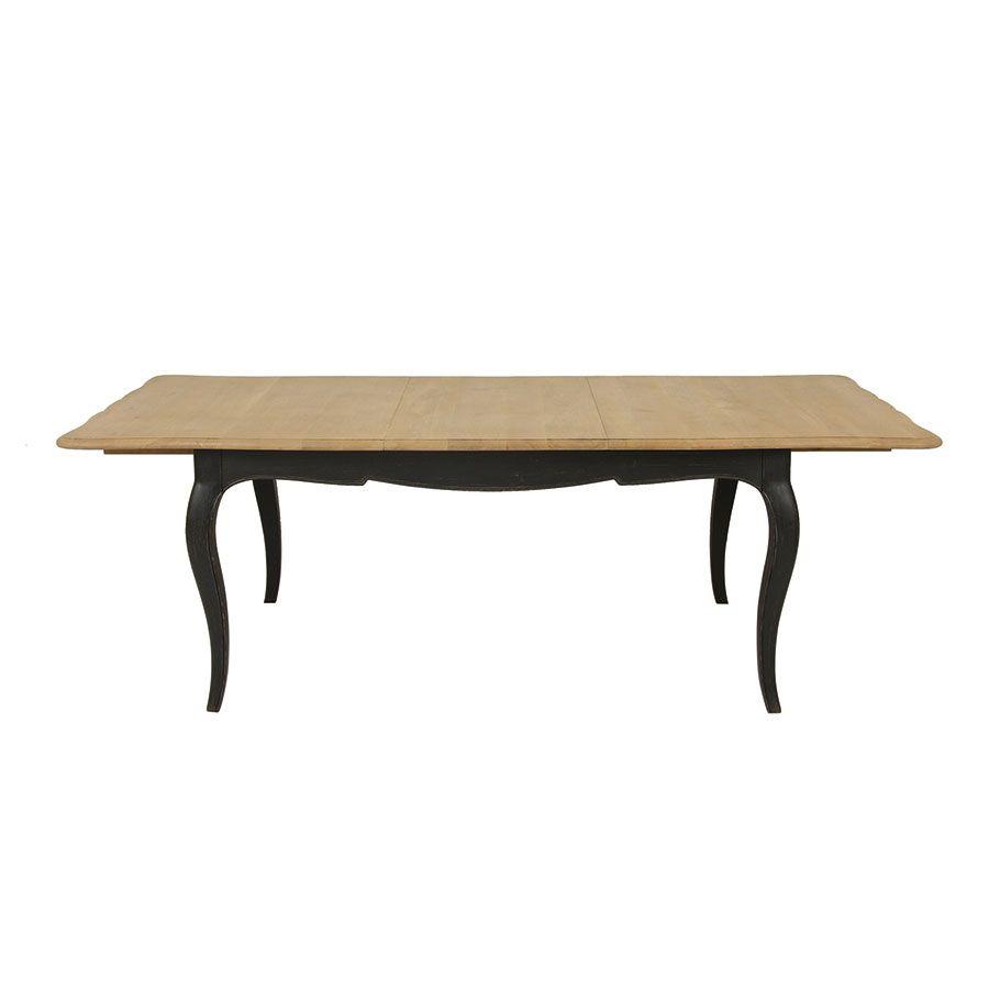Table extensible noire en pin 12 à 14 personnes - Manoir