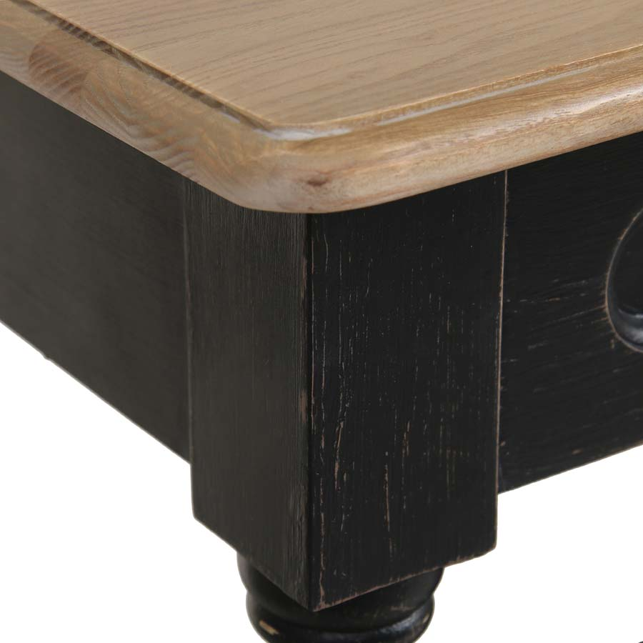 Table drapier 2 tiroirs en pin noir vieilli - Manoir