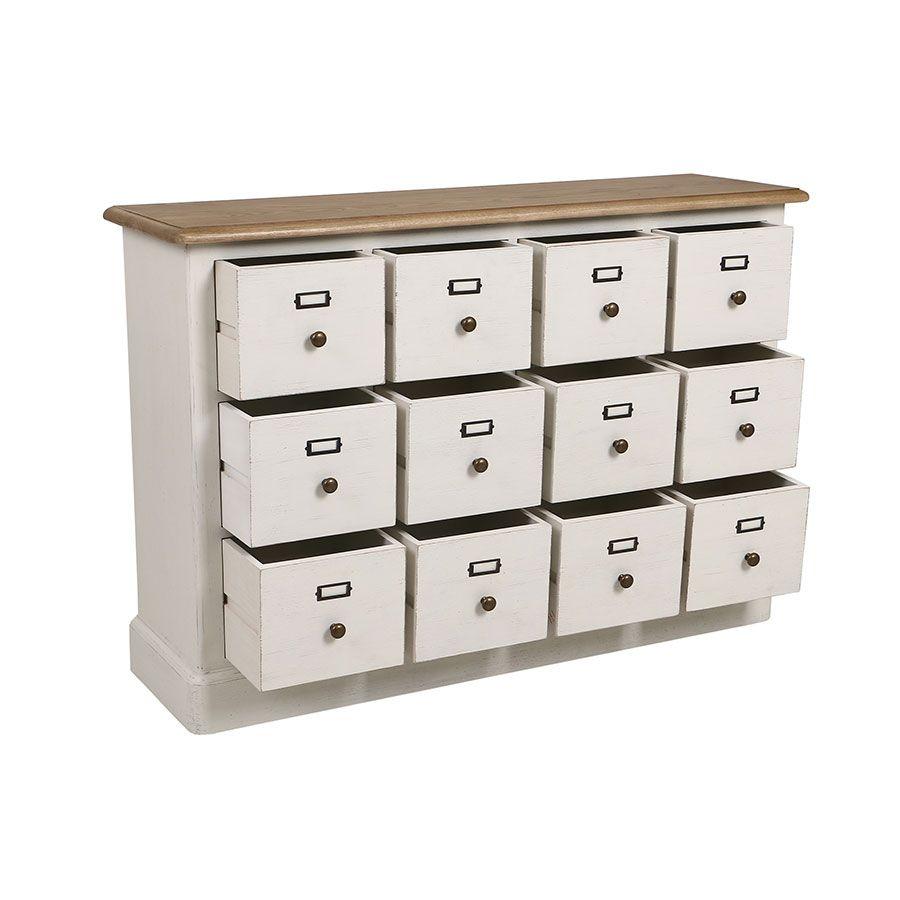Buffet blanc 12 tiroirs en pin massif - Manoir