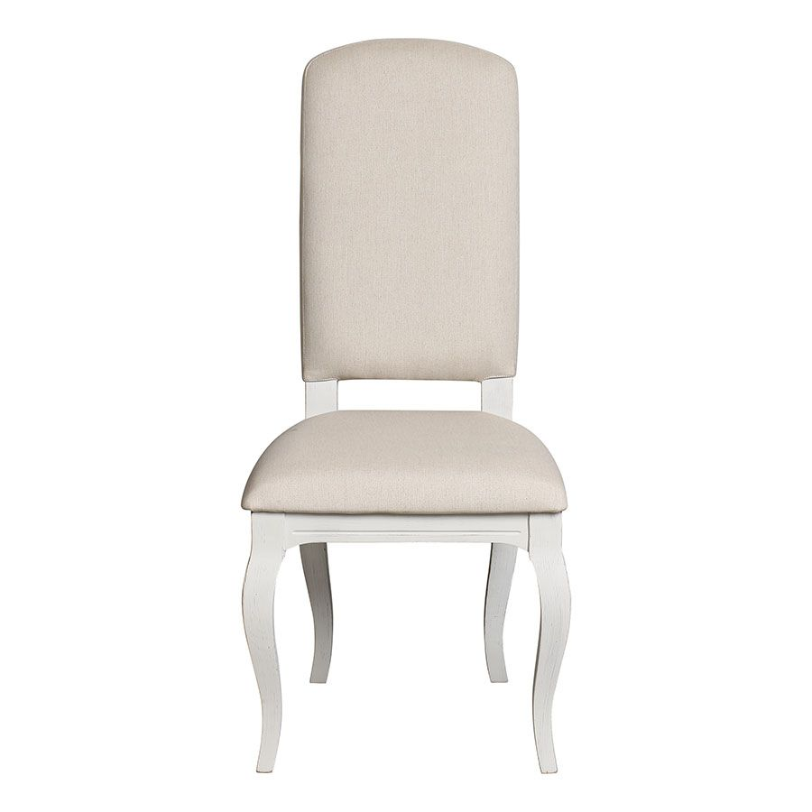 Chaise blanche en hévéa massif et tissu - Manoir