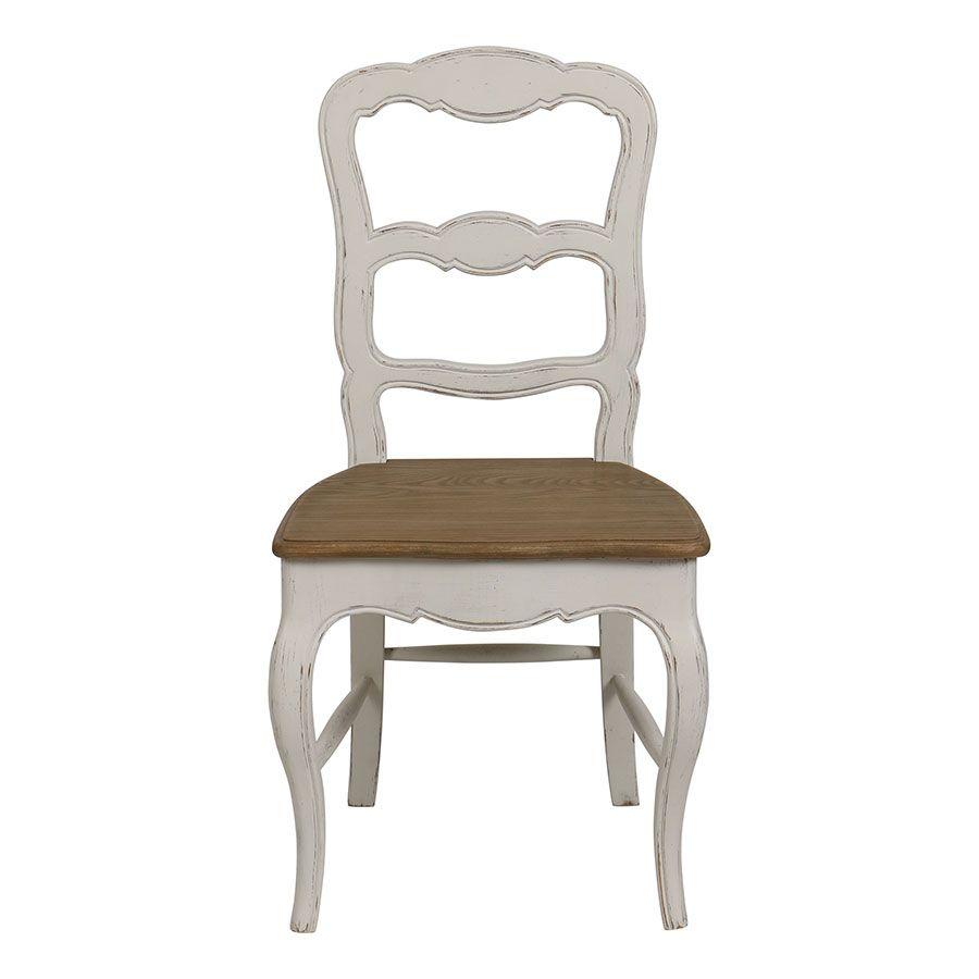 Chaise blanche en pin massif - Louise