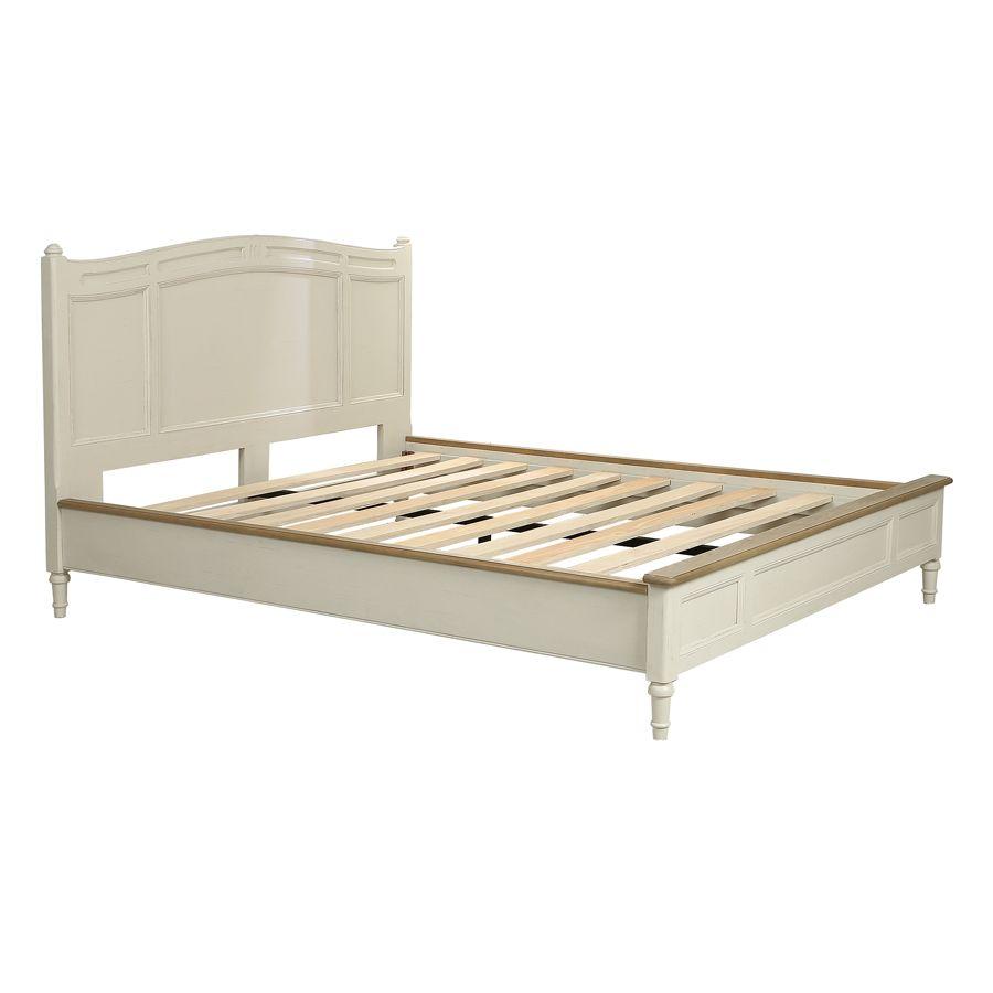 Lit 2 places 180x200 cm en bois blanc vieilli - Manoir