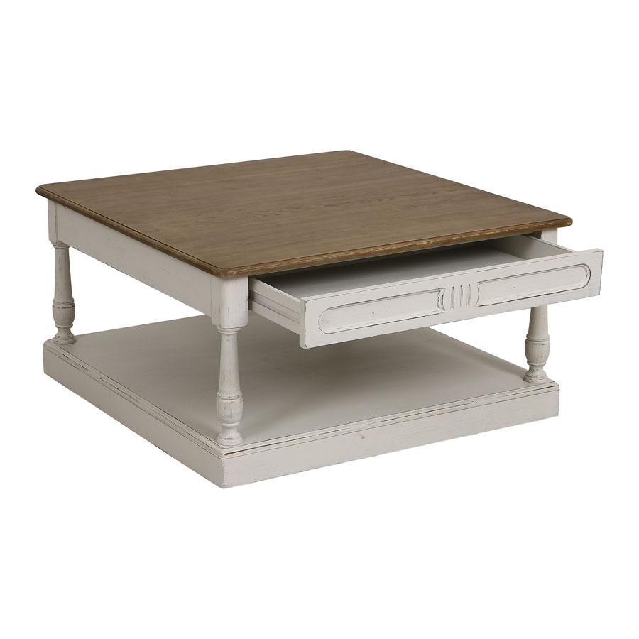 Table basse carrée blanche en pin - Manoir