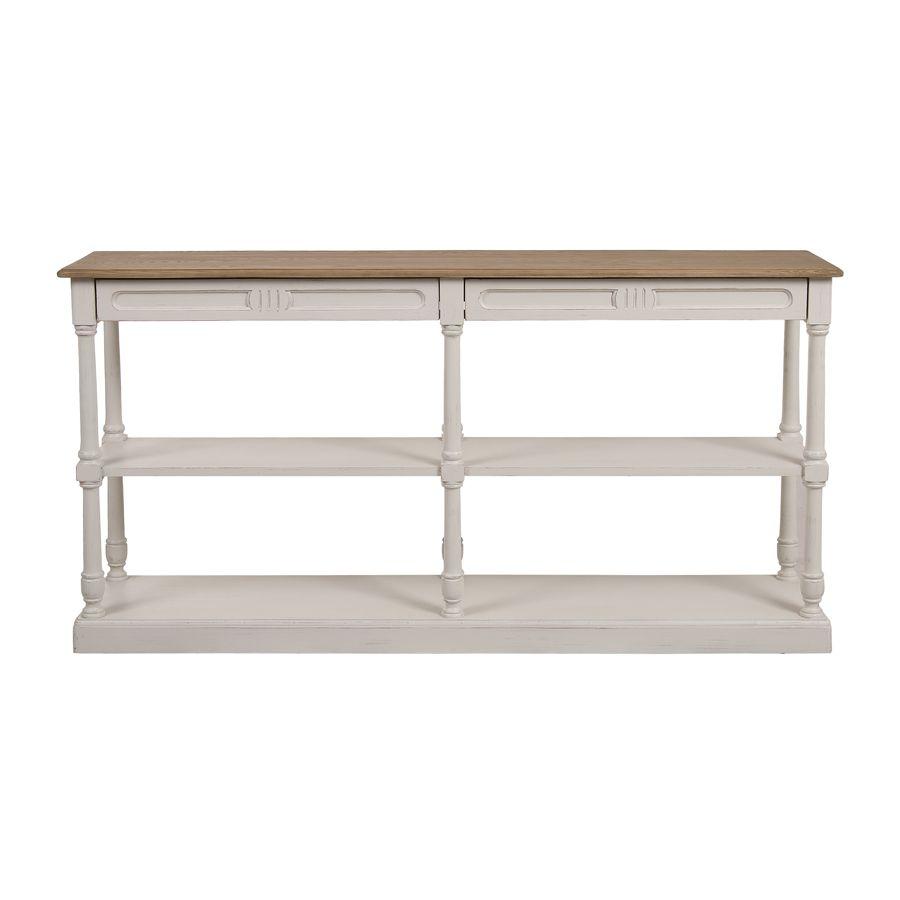 Table drapier 2 tiroirs en pin blanc vieilli - Manoir