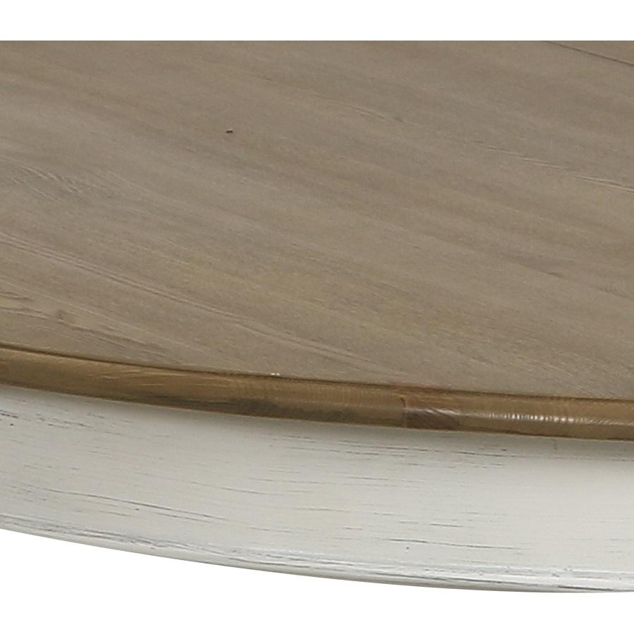 Table ronde extensible blanc vieilli pour 6 à 11 personnes - Manoir