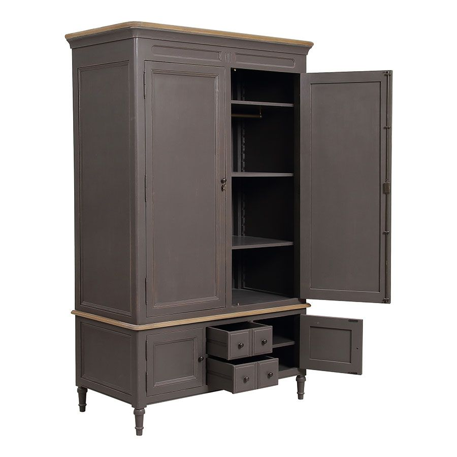 Armoire penderie taupe en pin massif - Manoir