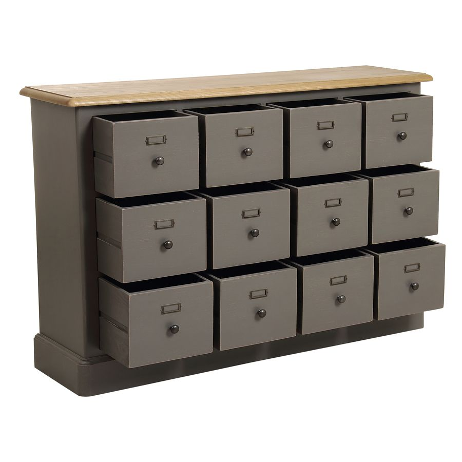 Buffet taupe 12 tiroirs en pin massif - Manoir