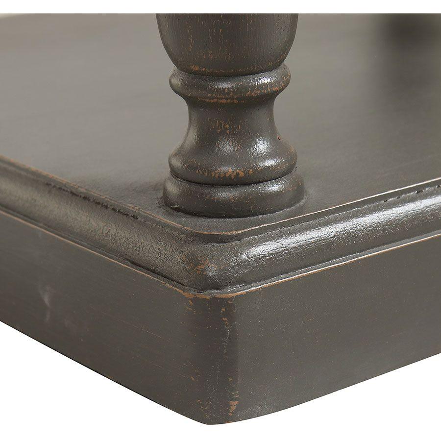 Table de chevet 2 tiroirs taupe en pin massif - Manoir