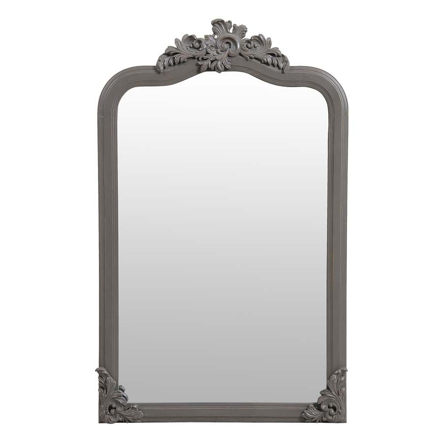 Miroir taupe en pin massif - Manoir