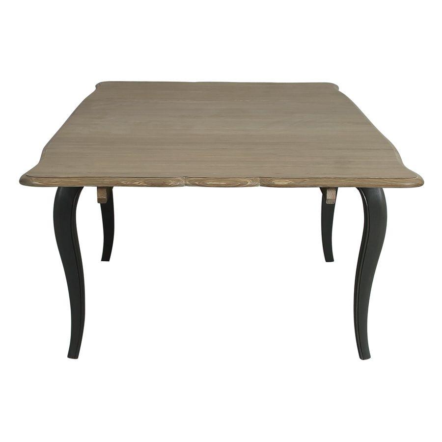Table extensible taupe en pin 12 à 14 personnes - Manoir