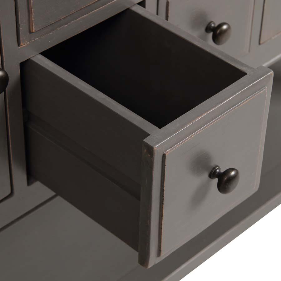 Console sauteuse taupe 4 tiroirs et 2 portes - Manoir